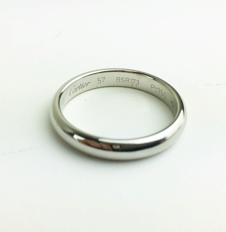 PLATINUM CARTIER WEDDING BAND SIZE 57 3.5MM