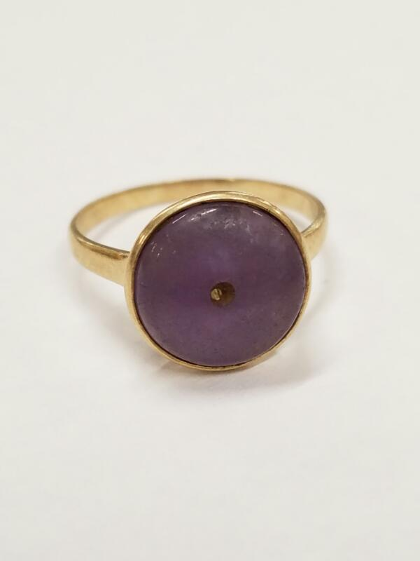 Purple Stone Lady's Stone Ring 14K Yellow Gold 3.2g