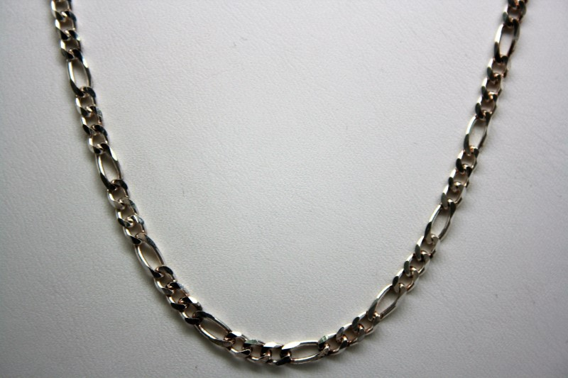 "20"" SILVER FIGARO STYLE CHAIN 11.3g"
