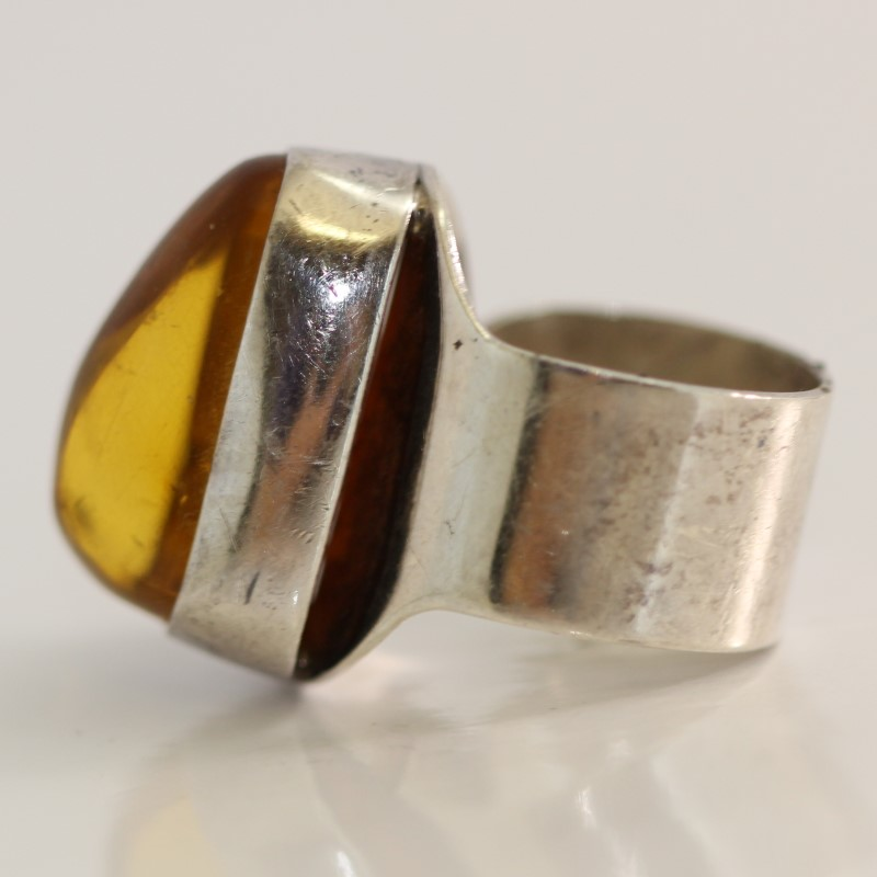Sterling Silver Amber Color Stone Statement Ring Size 7*