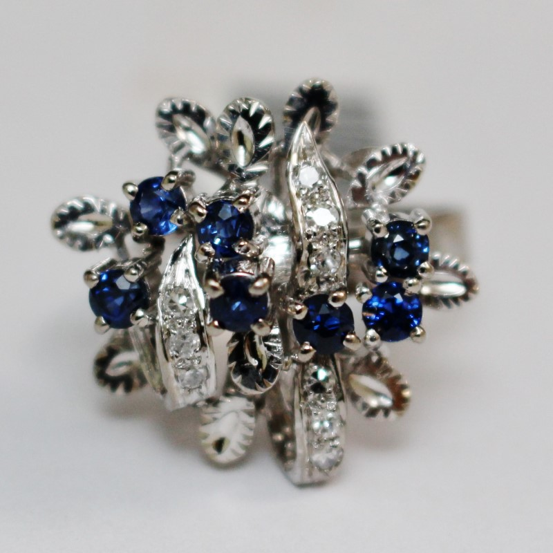 Antique Diamond and Sapphire Cluster Stainless Silver Ring Size 6.5