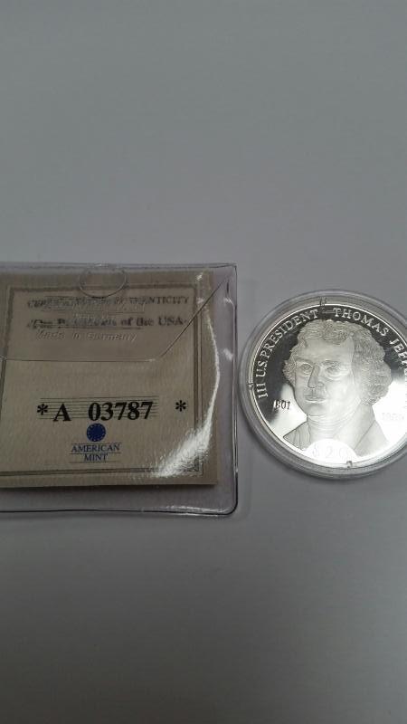 AMERICAN MINT REPUBLIC OF LIBERIA $20.00 SILVER COIN THOMAS JEFFERSON