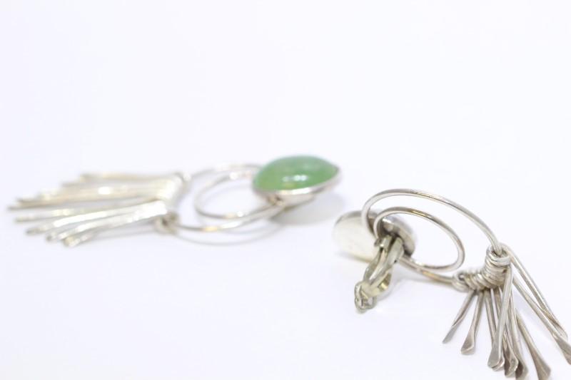Sterling Silver Light Green Oval Jade Dangle Drop Clip-On Earrings