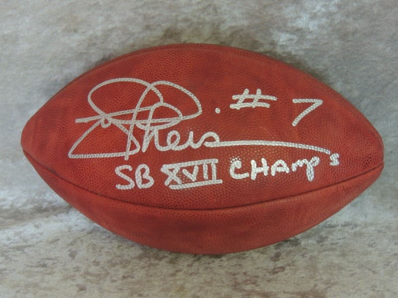 Joe Theismann Redskins Autographed Duke Football SB XVII Champs Inscription