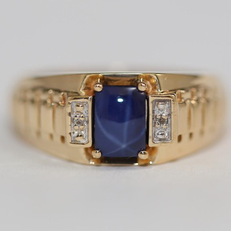 Star Sapphire Stone & Diamond Ring Set in 10K Yellow Gold Size 10