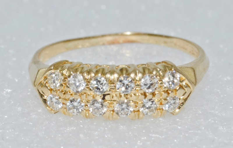 14K Yellow Gold Vintage Inspired Double Row Set Round Diamond Ring Band Size 8.5