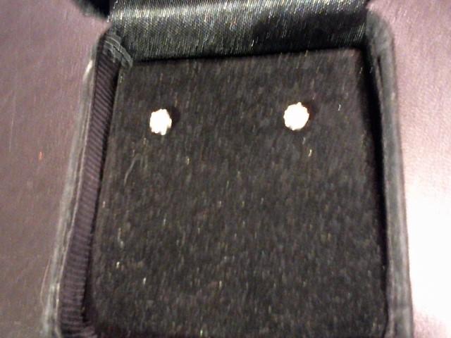 Gold-Diamond Earrings 2 Diamonds .30 Carat T.W. 14K White Gold 0.35g