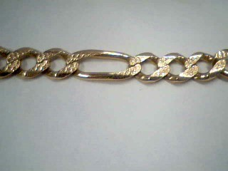 Gold Figaro Bracelet 14K Yellow Gold 27g