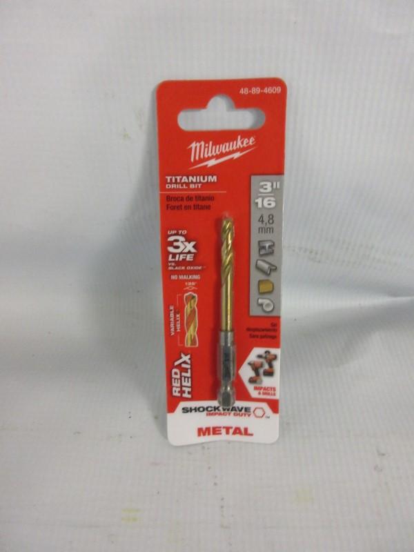 "MILWAUKEE 3/16"" Titanium Drill Bit 48-89-4609"