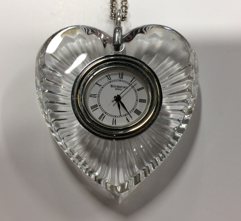 WATERFORD CRYSTAL HEART POCKET WATCH