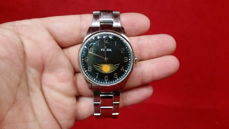 "Fossil 'The Agent' Three-Hand Moon Phase Stainless Steel 7"" Men's Watch FS4848"