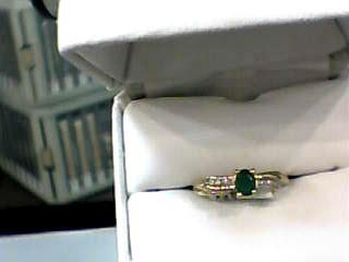 Emerald Lady's Stone & Diamond Ring 6 Diamonds .030 Carat T.W. 10K Yellow Gold