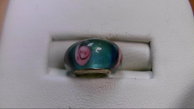 Clear Teal and Pink Glass Bead 925 Silver