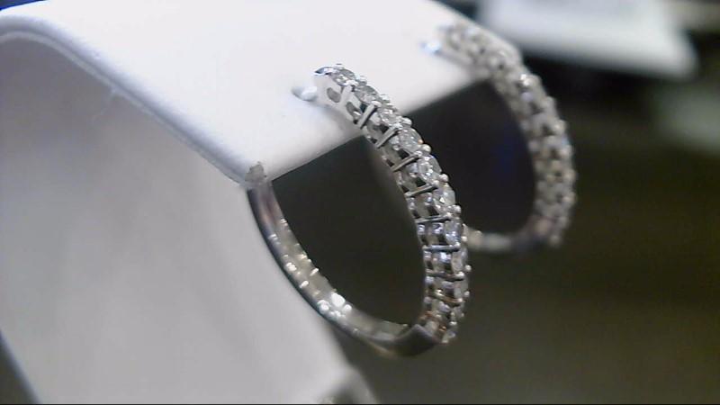 Gold-Diamond Earrings 22 Diamonds .66 Carat T.W. 14K White Gold 3.9g