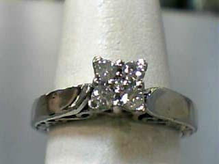 Lady's Diamond Cluster Ring 5 Diamonds .21 Carat T.W. 10K White Gold 2.1dwt