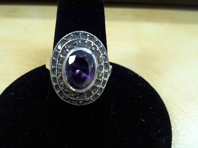 Brown Stone Lady's Silver & Stone Ring 925 Silver 3g