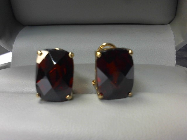 Almandite Garnet Gold-Stone Earrings 14K Yellow Gold 6.7g
