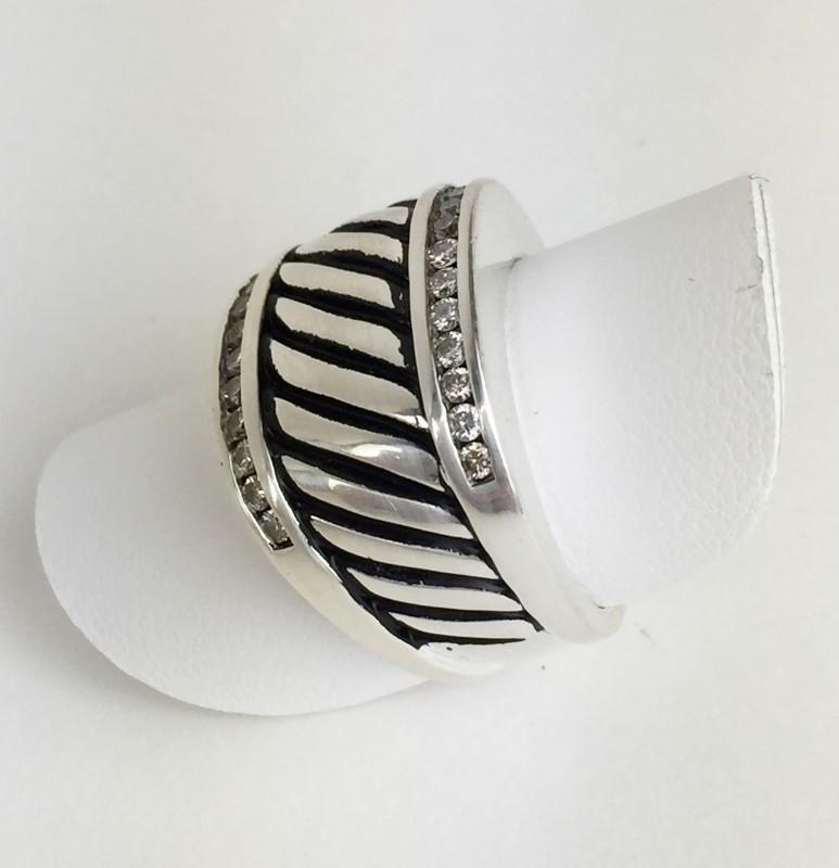 David Yurman Diamond Ring 24 Diamonds .48 Carat T.W. Sterling Silver Ring