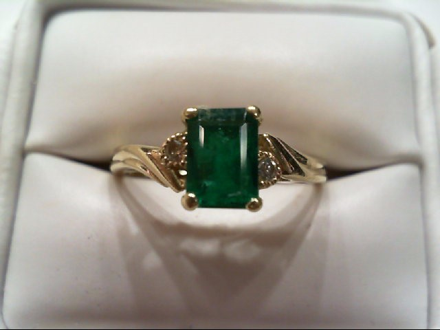 Emerald Lady's Stone & Diamond Ring 2 Diamonds .04 Carat T.W. 10K Yellow Gold