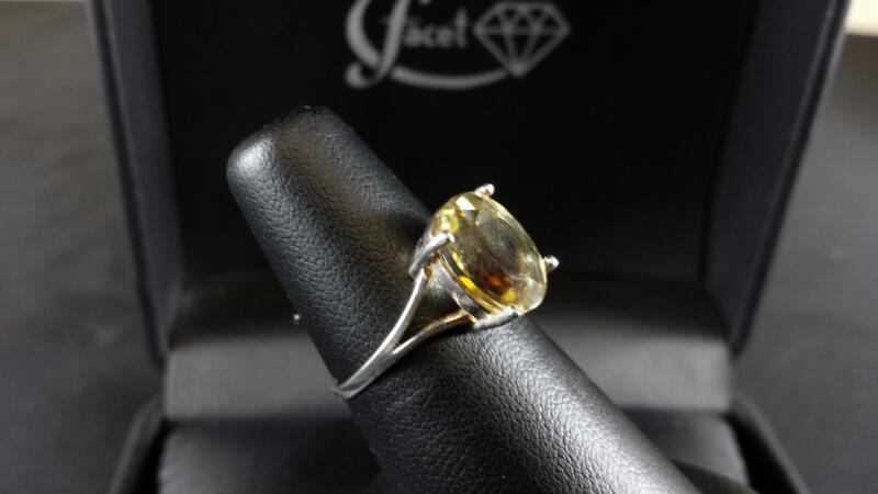 Oval Lemon Quartz Lady's Silver Ring 925 Silver
