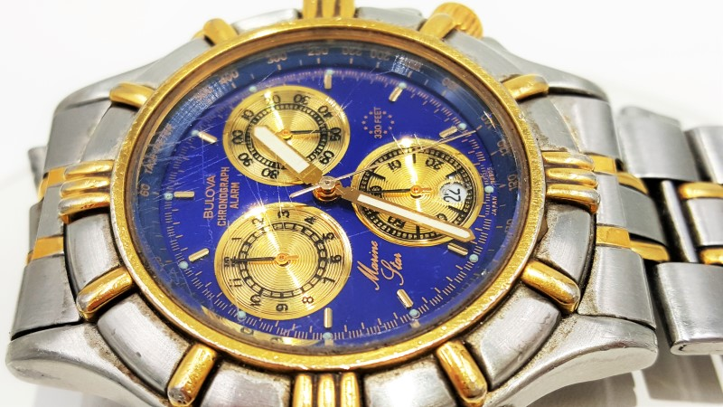 Men's Marine Star Bulova Blue Dial Two Tone As-Is Quartz Watch