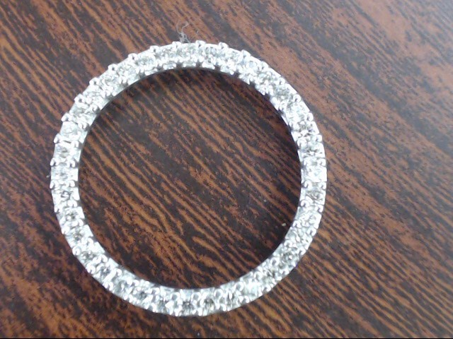"ESTATE NATURAL DIAMOND 1"" CIRCLE PENDANT CHARM REAL 10K WHITE GOLD"