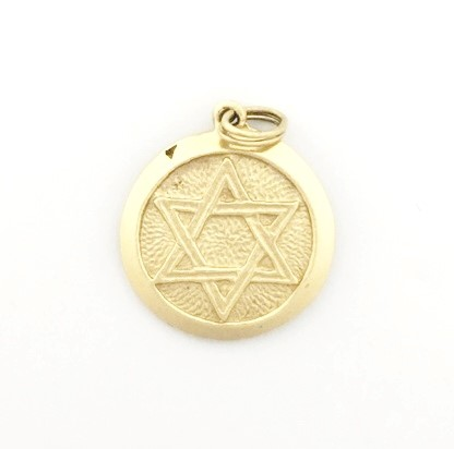 14K Yellow Gold Round Jewish Star of David & Jonah Rowing Pendant