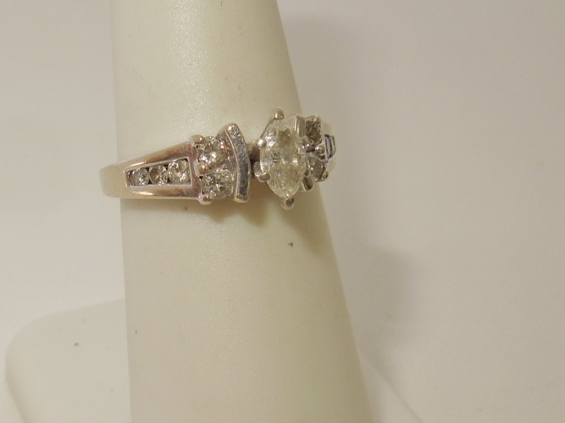 Lady's Diamond Engagement Ring 11 Diamonds .49 Carat T.W. 14K White Gold 4.5g
