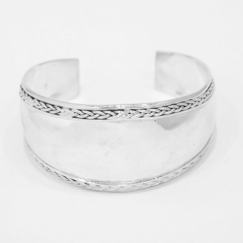 "STERLING SILVER CUFF BRACELET 7"" WITH ROPE TRIM"
