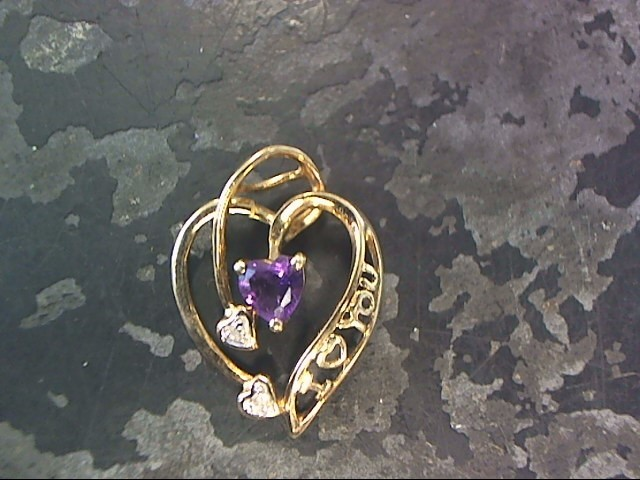 Purple Stone Gold-Diamond & Stone Pendant 2 Diamonds .02 Carat T.W.