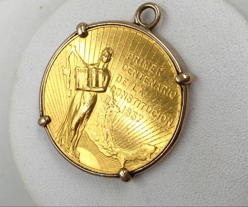 1957 Mexico Primer Centenario 22k Gold Coin -14k Gold Bezel RARE