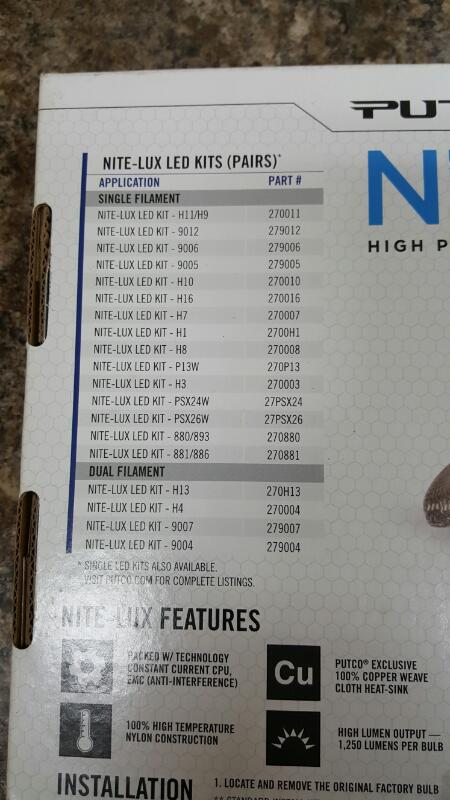 Putco 279006 Nite-Lux LED Headlight Bulb Conversion; 2500 Lumens Each