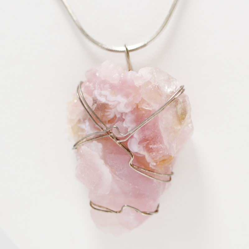 Pink Rock Fashion Pendant Sterling Silver Necklace