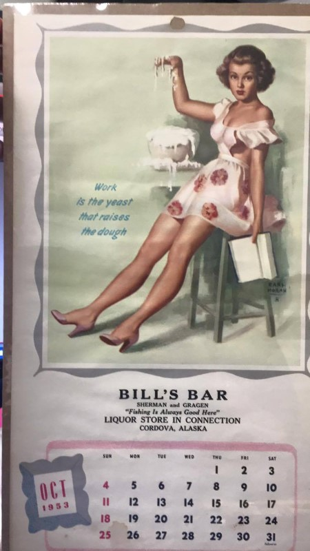 OCTOBER 1953 CALENDAR GIRL BILL'S BAR