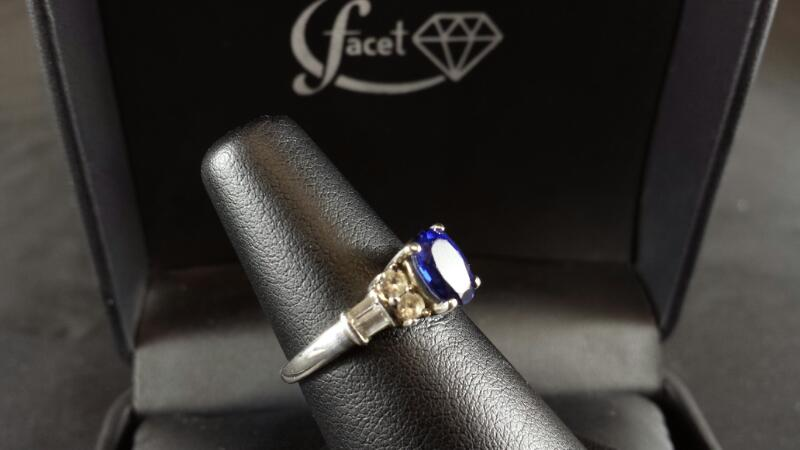 Oval Blue Sapphire CZ Lady's Silver Ring 925 Silver