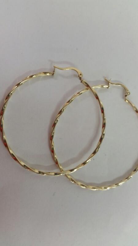 10K-Y/G Large Hoop Earrings