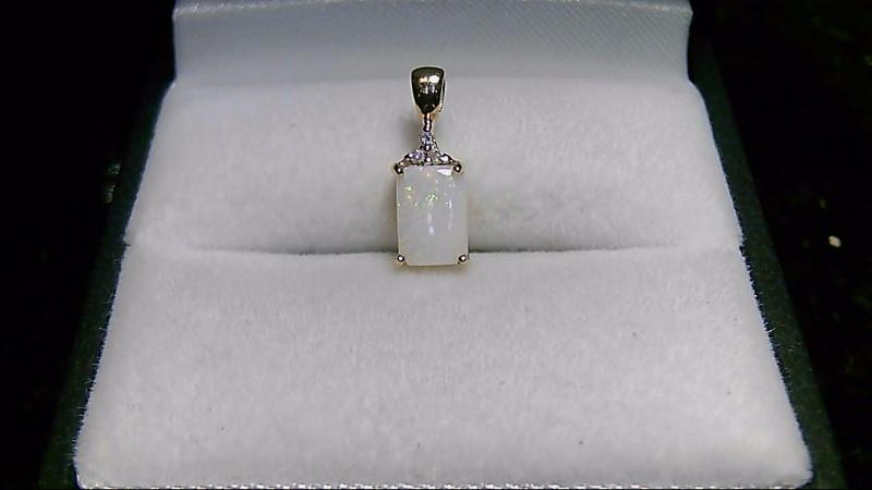 Opal Gold-Diamond & Stone Pendant 3 Diamonds .03 Carat T.W. 10K Yellow Gold