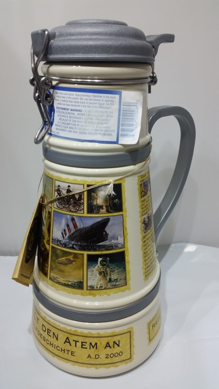 "Rachenfelser Ale of the Millennium 12"" Lidded German Beer Stein"