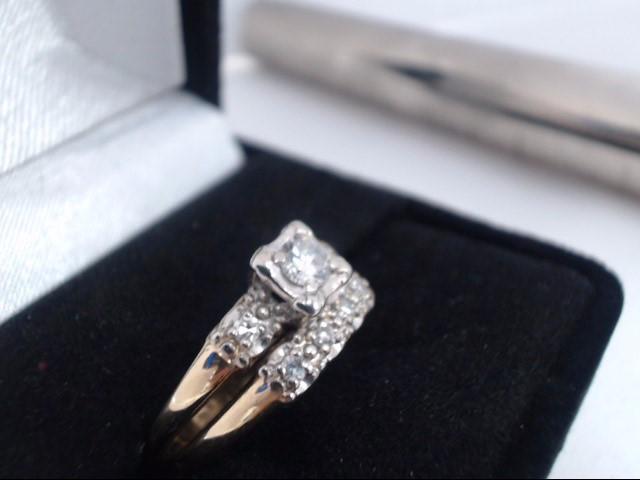 Lady's Diamond Solitaire Ring 7 Diamonds .38 Carat T.W. 14K 2 Tone Gold 5g