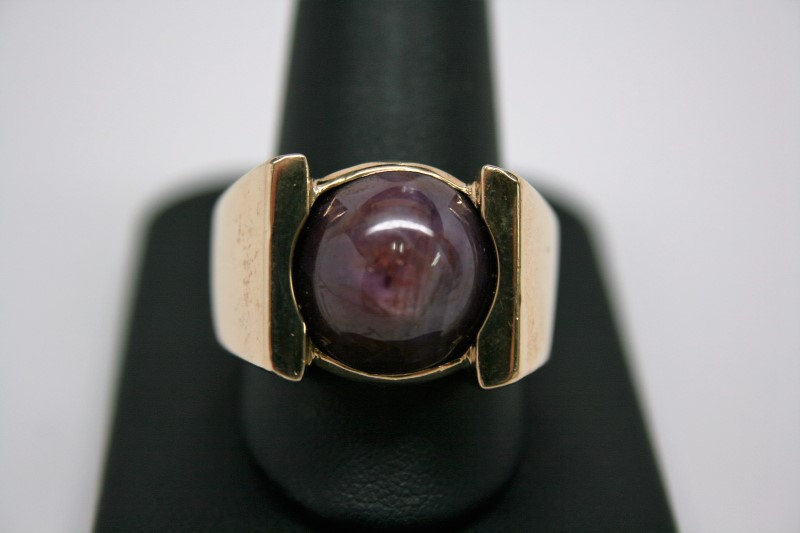 GENT'S STAR RUBY RING 18K YELLOW GOLD