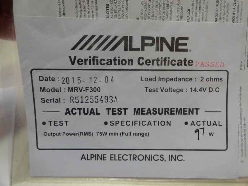 Alpine MRV-F300 4-Channel 75x4 Watts *Refurbished w/ Certificate*
