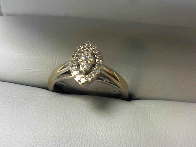 Lady's Silver-Diamond Ring 22 Diamonds .22 Carat T.W. 925 Silver 3.3g