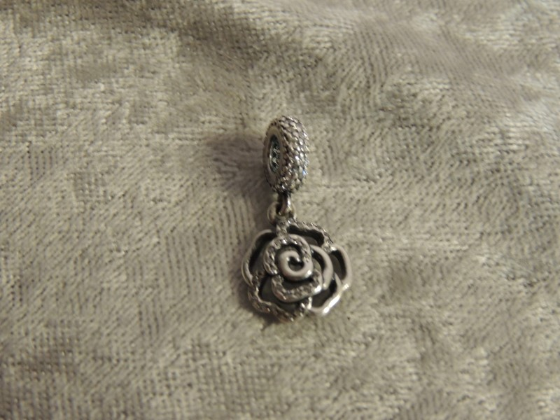 PANDORA CHARM STERLING ROSE SILVER DANGLE WITH CZ 791526CZ