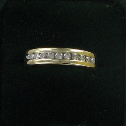 Gent's Gold-Diamond Wedding Band 10 Diamonds .50 Carat T.W. 14K Yellow Gold