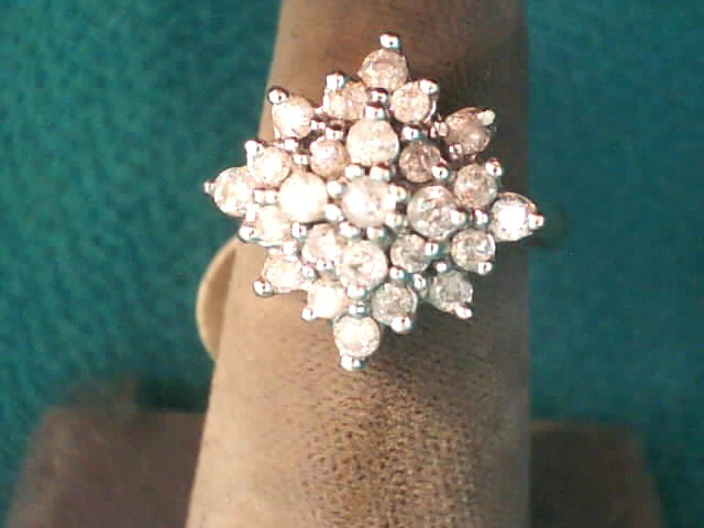 Lady's Diamond Cluster Ring 23 Diamonds .41 Carat T.W. 10K Yellow Gold 3.3dwt
