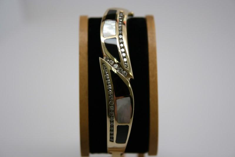 BANGLE/CUFF DIAMOND & MOTHER OF PEARL/ONYX BRACELET 14K YELLOW GOLD
