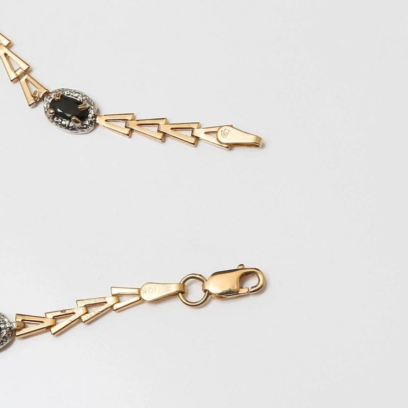 """7"""" 10K Yellow Gold Arrows & Oval Cut Sapphire Bracelet"""