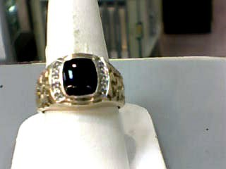 Synthetic Onyx Gent's Stone Ring 10K Yellow Gold 4.4dwt Size:10