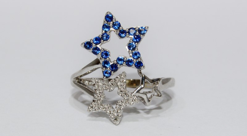 "10K White Gold ""Stars & Stripes"" Patriotic Blue & White CZ Statement Ring sz 6"