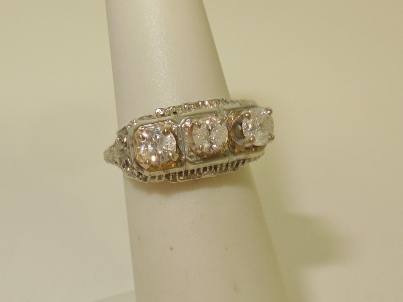 Lady's Gold-Diamond Anniversary Ring 3 Diamonds .48 Carat T.W. 18K White Gold